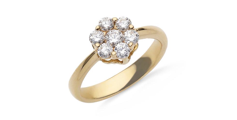 Rózsaarany hétköves gyémánt gyűrű virág alakú foglalattal