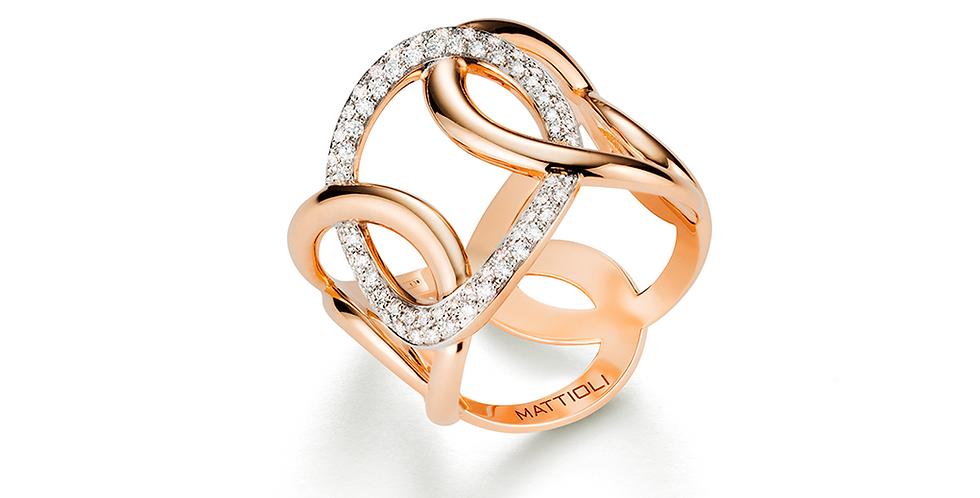 Mattioli rózsaarany dizájn gyűrű fehér gyémántokkal