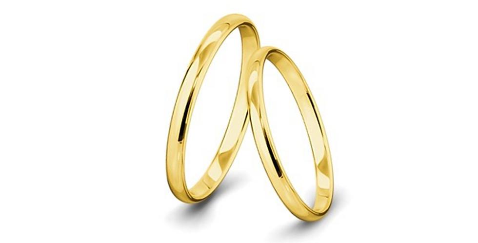 Kívül-belül erősen lekerekített felületű sárgaarany jegygyűrűpár (2 mm)