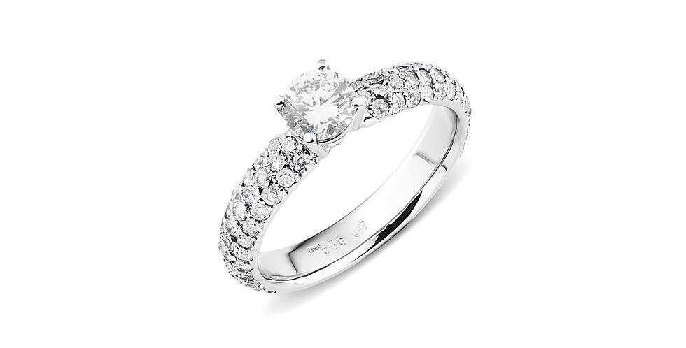Fehérarany pavé szoliter gyűrű 0,44 ct center kővel