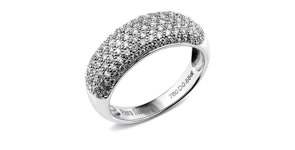 Piero Milano 18kt-os fehérarany gyémánt gyűrű pavé foglalattal