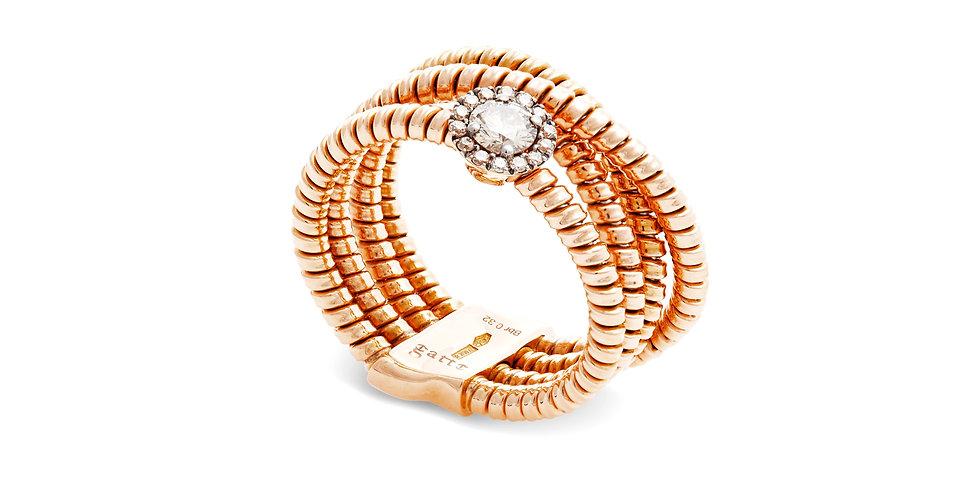 Gatto 18kt-os rózsaarany többsoros gyűrű pezsgőszínű gyémántokkal