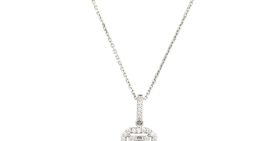 18kt-os fehérarany nyaklánc bagett és brilliáns csiszolású gyémántokkal