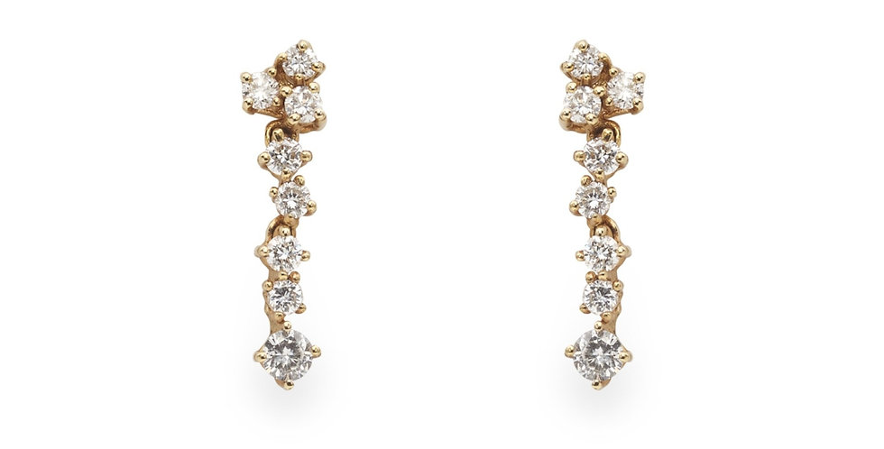 Rózsaarany lógós gyémánt fülbevaló