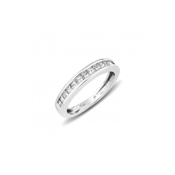 MeeVida 18kt-os fehérarany gyűrű princess gyémántokkal