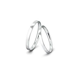 Kívül lapos, belül domborított felületű fehérarany jegygyűrűpár (2 mm)