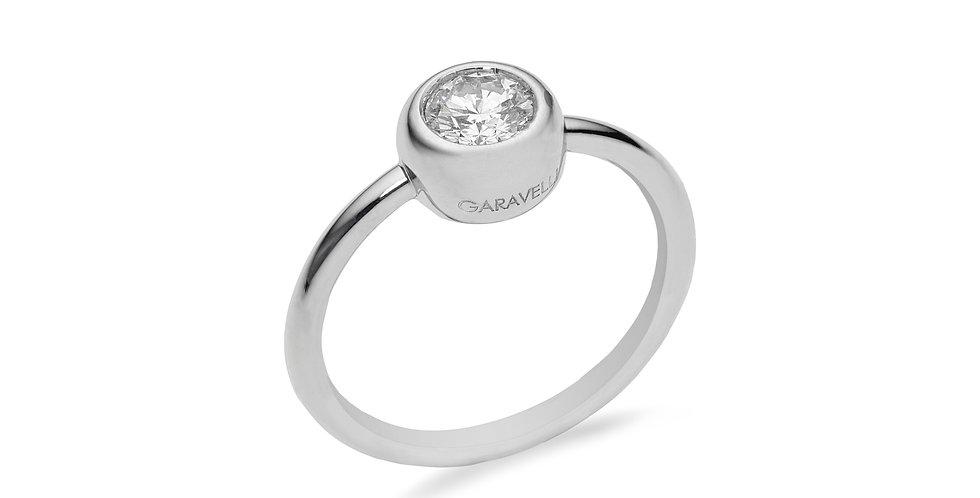 Garavelli fehérarany gyűrű briliáns csiszolású gyémánttal, zárt foglalattal