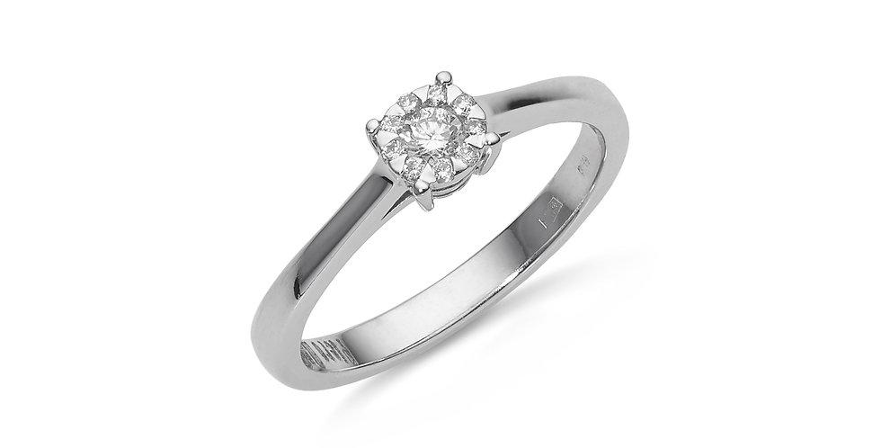 Piero Milano 18kt-os fehérarany szoliter típusú gyémánt gyűrű