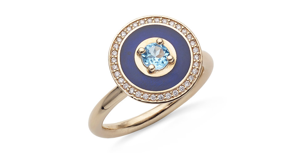 Rózsaarany gyűrű topázzal, gyémánttal és kék tűzzománccal