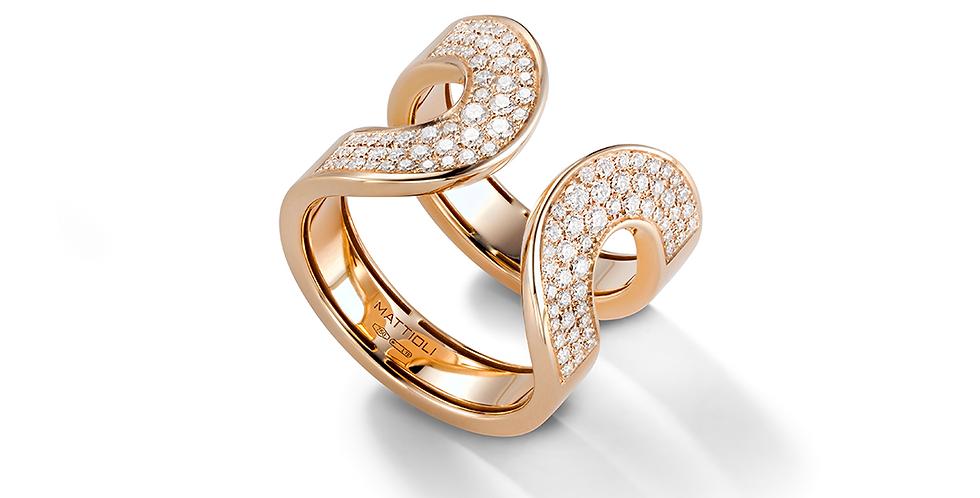 Mattioli rózsaarany gyűrű pavé gyémántokkal