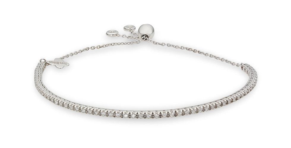 Fehérarany állítható méretű tenisz karkötő fehér gyémántokkal