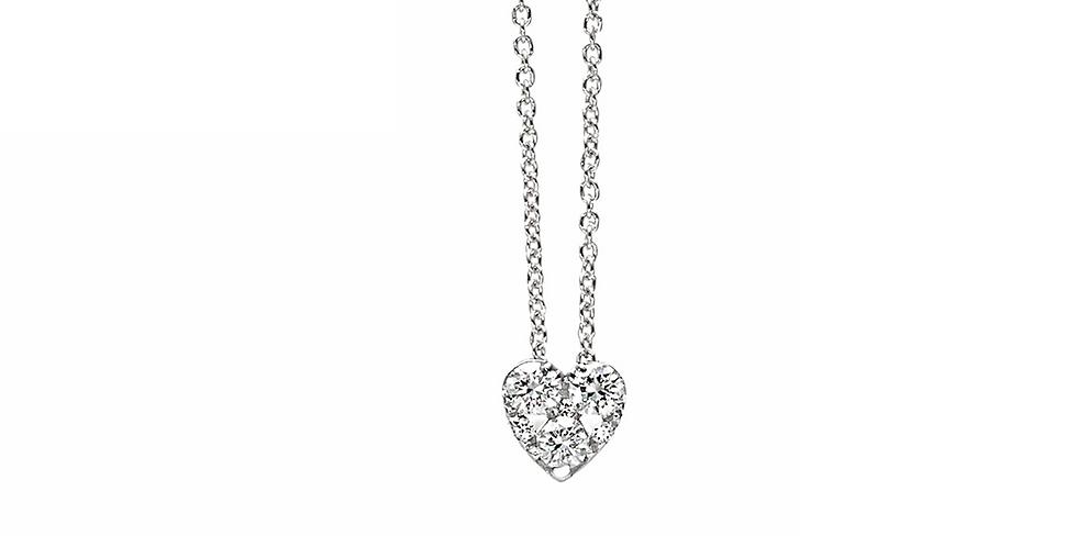 Piero Milano fehérarany szíves gyémánt medál