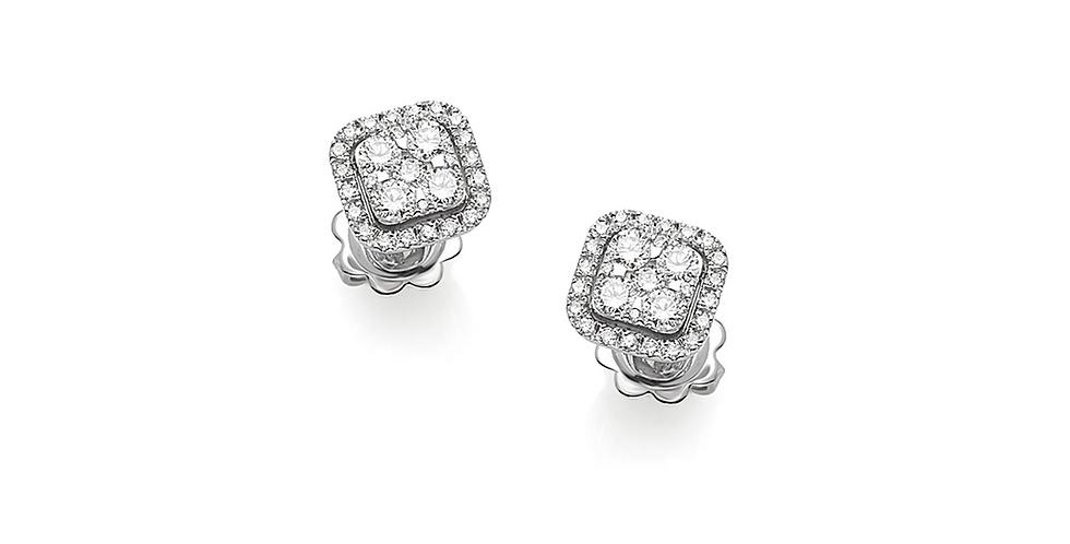 Piero Milano négyzet alakú fehérarany  gyémánt fülbevaló
