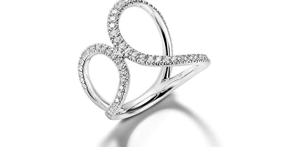 Mattioli fehérarany pillangó formájú gyűrű gyémántokkal kirakva