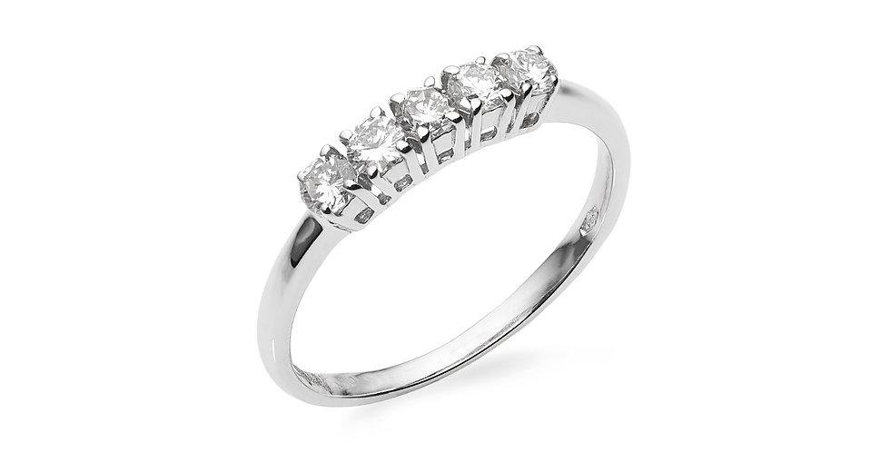 Fehérarany gyűrű 5 db gyémánttal