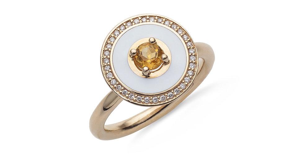 Rózsaarany gyűrű sárga zafírral, gyémánttal és fehér tűzzománccal