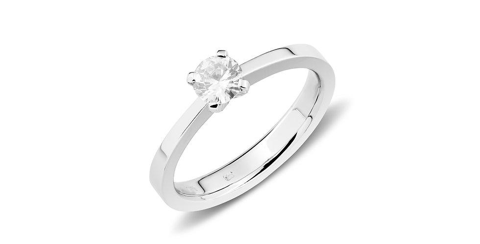 18kt-os fehérarany szoliter gyűrű 0,40 ct gyémánttal