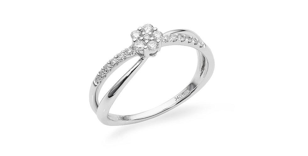 """Fehérarany és gyémánt """"infinity"""" gyűrű virág formájú díszítéssel"""