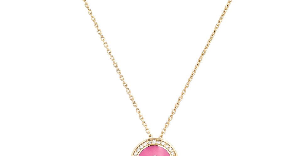 Rózsaarany medál pink tűzzománccal, kék zafírral és gyémántokkal