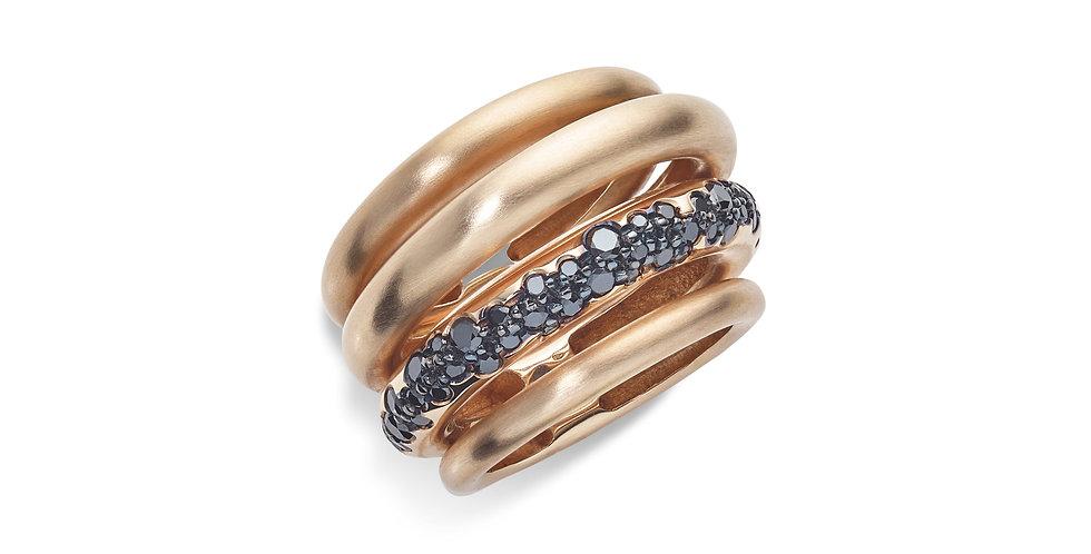 Cervera mattított rózsaarany design gyűrű fekete gyémántokkal