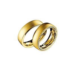 Exkluzív sárgaarany jegygyűrű alul-felül gyémántokkal