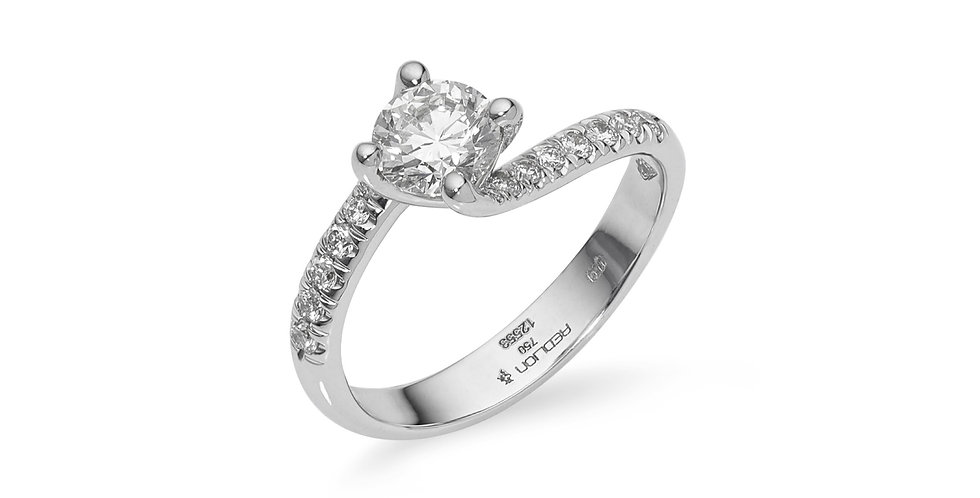 """Fehérarany """"csavart"""" gyémánt gyűrű"""