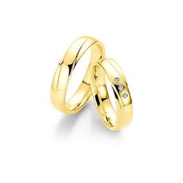 Sárgaarany karikagyűrű ferde véséssel, 3db gyémánttal