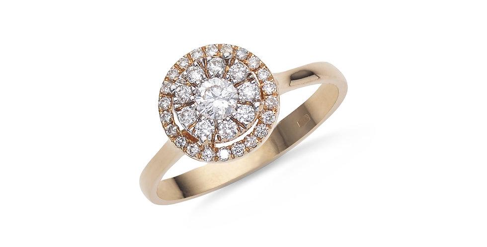 Rózsaarany sokköves gyémánt gyűrű