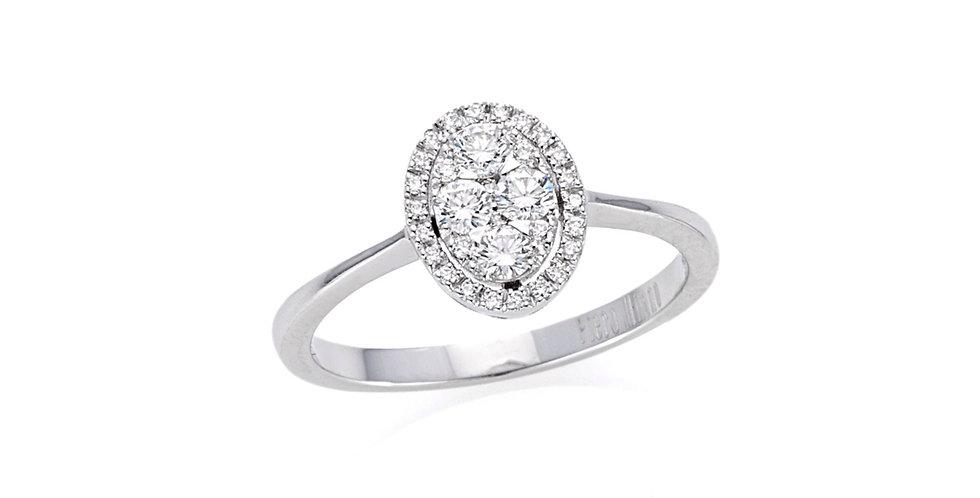 Piero Milano ovális alakú fehérarany  gyémánt gyűrű