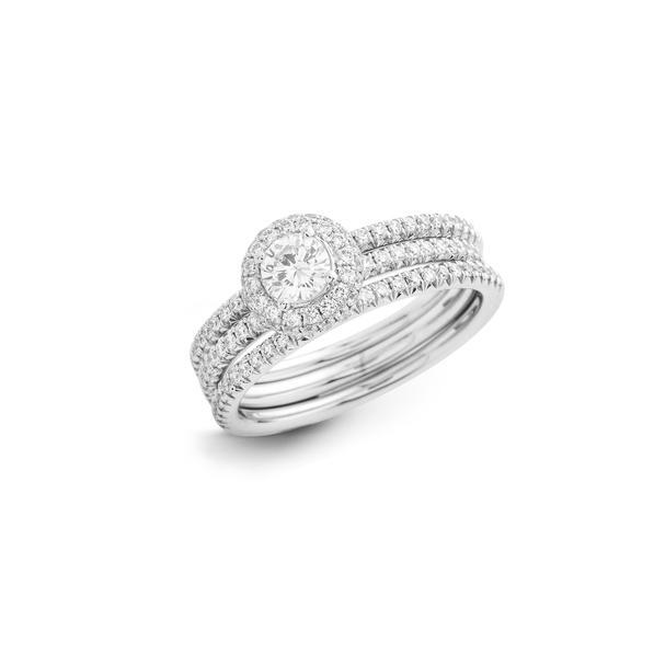 Hulchi Belluni 18kt-os fehérarany eljegyzési gyűrű és karikagyűrű szett gyémántokkal