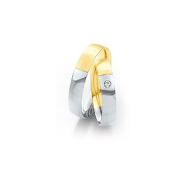 Fehérarany és rozéarany bicolor karikagyűrű gyémánttal