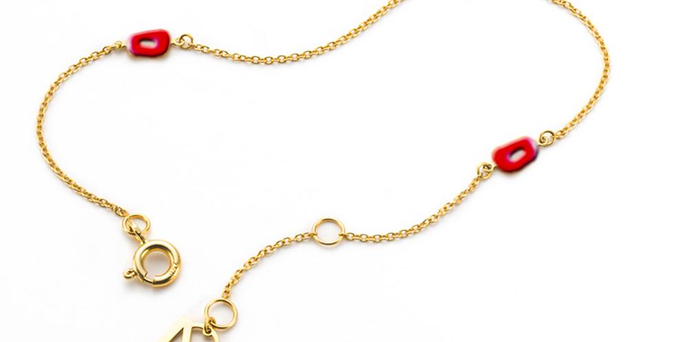 Mattioli vékony rózsaarany karkötő piros tűzzománc puzzle díszítéssel