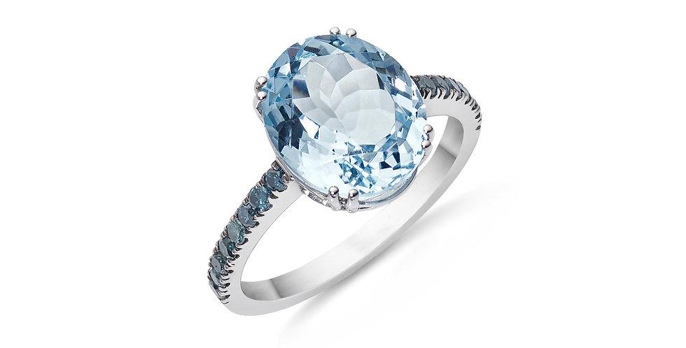 Garavelli fehérarany akvamarin gyűrű kék gyémántokkal