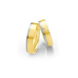 Sárgaarany karikagyűrű fehérarannyal és gyémánttal