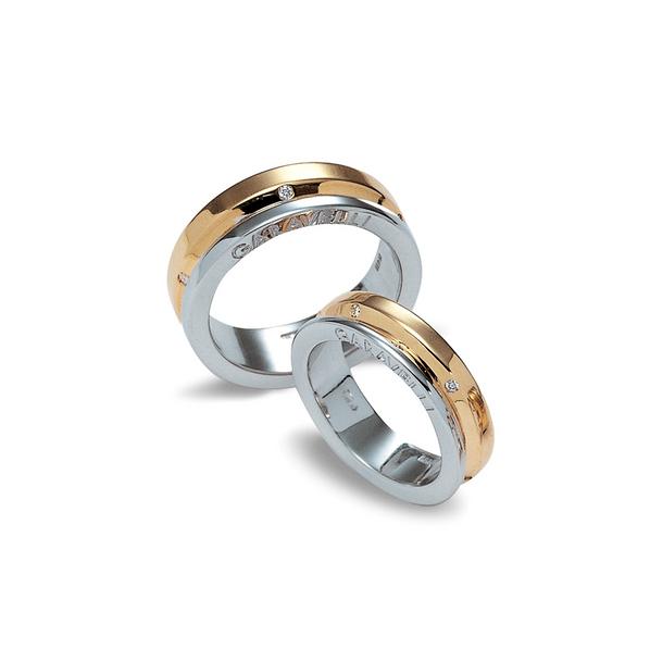 Garavelli 18kt fehér- és sárgaarany exkluzív karikagyűrűpár gyémántokkal