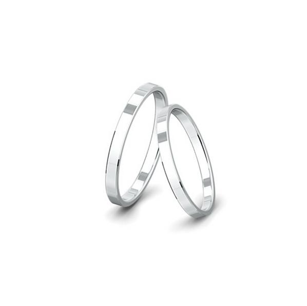 Kívül-belül egyenes felületű fehérarany jegygyűrűpár (2 mm)