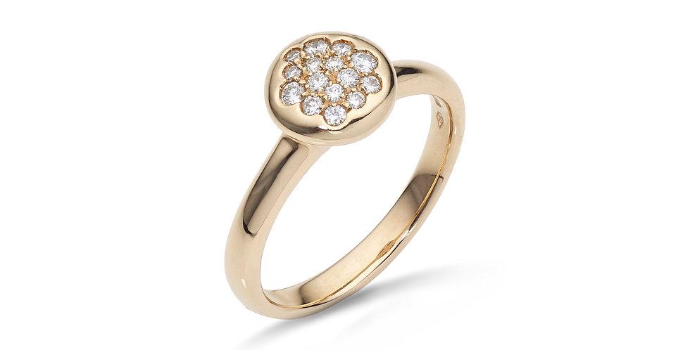 Rózsaarany gyűrű pavé gyémántokkal