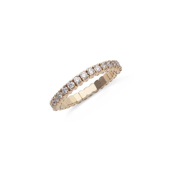 Piero Milano félig gyémántos 18kt-os rózsaarany karikagyűrű