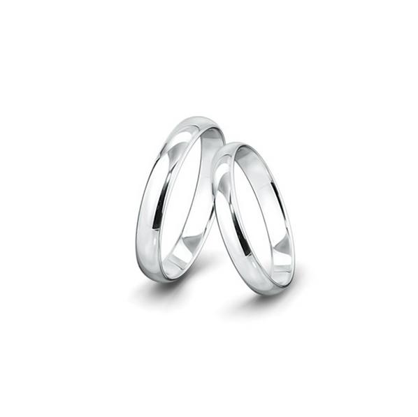 Kívül-belül erősen lekerekített felületű fehérarany jegygyűrűpár (4 mm)