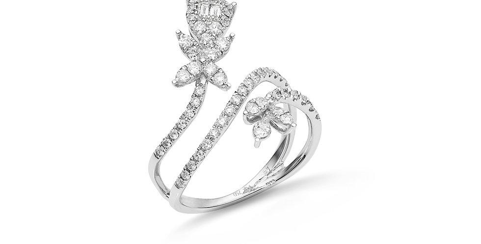 """Fehérarany és gyémánt """"viráginda"""" fazonú fantázia gyűrű"""