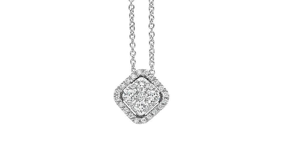 Piero Milano négyzet alakú gyémánt medál fehérarany nyakláncon