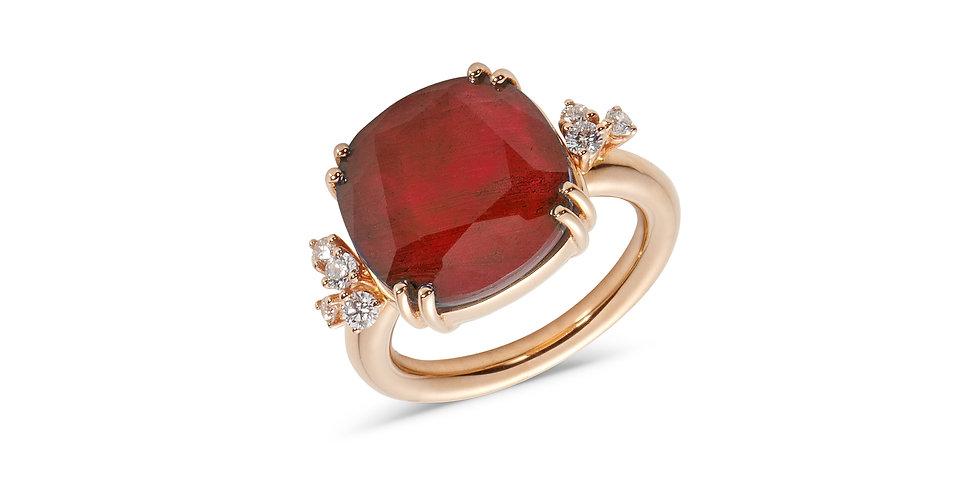 Cervera 18kt rózsaarany és rubin dublett gyűrű gyémántokkal