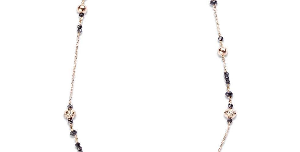 Cervera 18kt rózsaarany lánc fekete spinell és gyémánt díszítéssel
