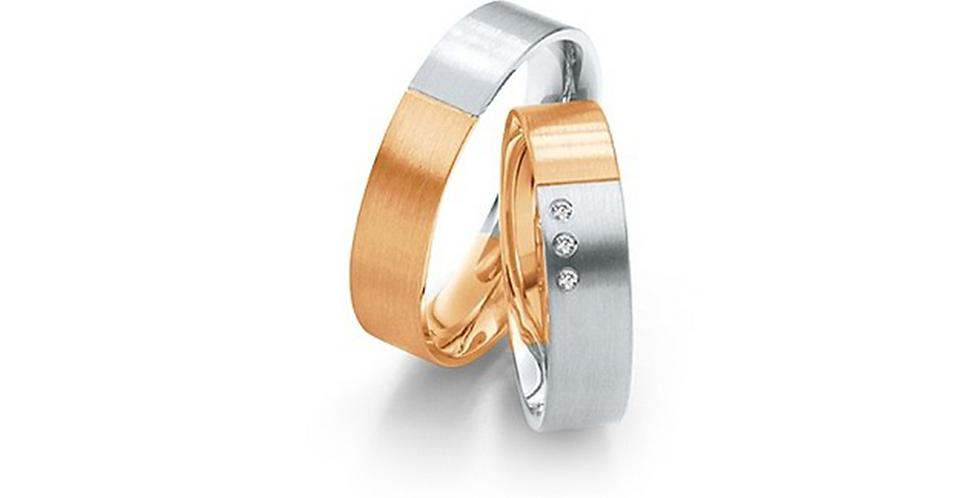 Fehér és rozéarany bicolor jegygyűrűpár 3 db gyémánttal