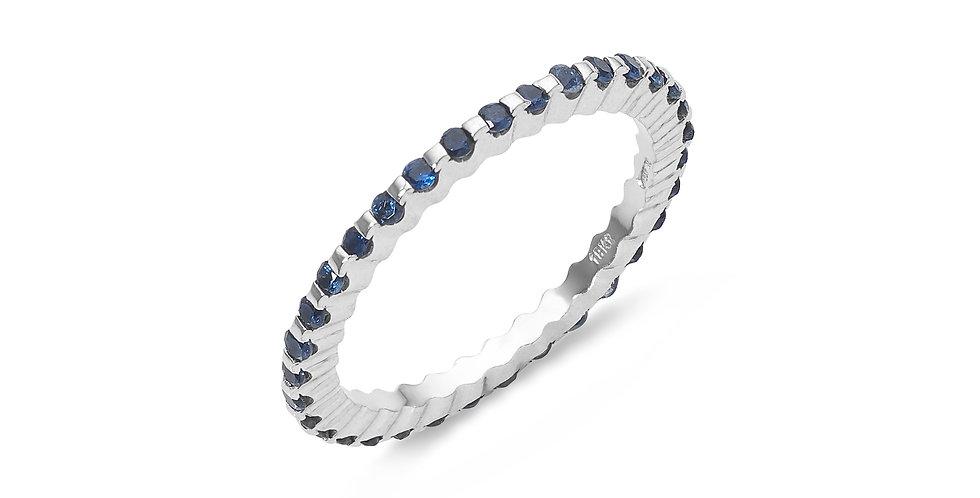 """Garavelli fehérarany """"eternity"""" körben köves gyűrű kék zafírokkal"""