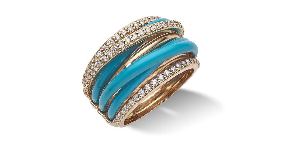 Rózsaarany többsoros gyémántgyűrű türkiz tűzzománccal