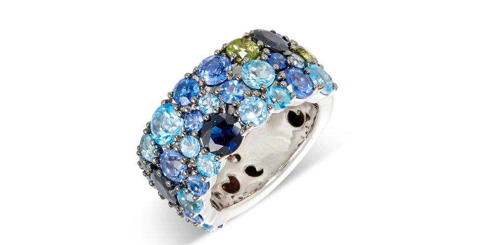 Cervera modern multicolor gyűrű kék zafírral és topázzal