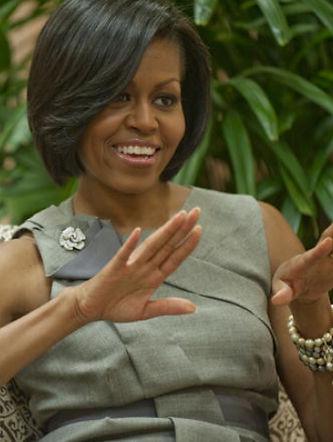 Michelle Obama wearing Garavelli brooch