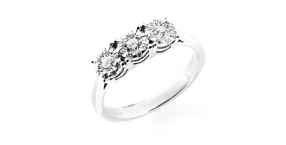 Piero Milano 18kt-os fehérarany trilógia gyémánt gyűrű