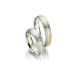 Fehér- és sárgaarany bicolor csíkozott karikagyűrű 3 db gyémánttal